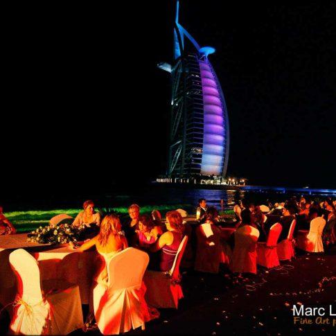 repas soirée sur la plage burj al arab