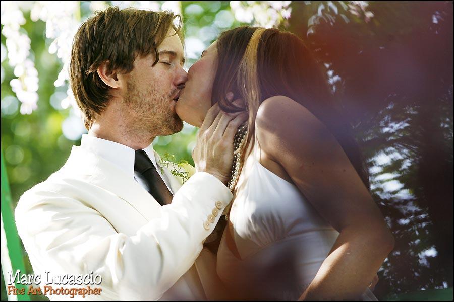 Portrait des mariés à Giverny au 200 mm