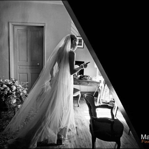 Photo de mariage en noir et blanc en Dordogne